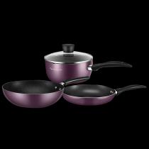 美的鍋具套裝三件套廚具烹飪組合家用電磁爐燃氣灶不粘鍋炒鍋奶鍋煎鍋全套MP-SL0305 紫色三件套